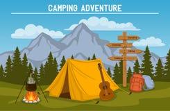 внешняя располагаясь лагерем сцена туризма бесплатная иллюстрация