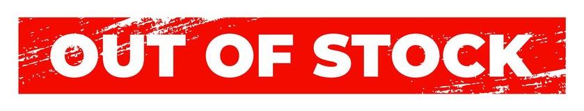 Вне - - бирка запаса красная прямоугольная Текстурированная Grunge метка stockout бесплатная иллюстрация