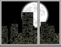 вне окно взгляда иллюстрация вектора
