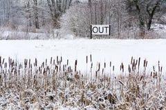 Вне спойте в снежном ландшафте, здравствуйте! весна, до свидания концепция зимы Стоковое фото RF