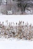 Вне спойте в снежном ландшафте, здравствуйте! весна, до свидания концепция зимы Стоковая Фотография