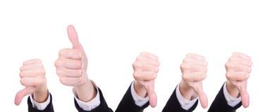 вниз большие пальцы руки большого пальца руки вверх Стоковое Фото