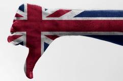 вниз большой пец руки Великобритания Стоковые Фото