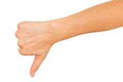 вниз большие пальцы руки знака Стоковые Изображения