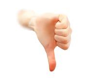 вниз большие пальцы руки стоковое изображение