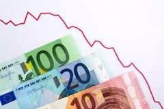Вниз валюта евро тенденции Торгуя диаграмма Стоковые Фото