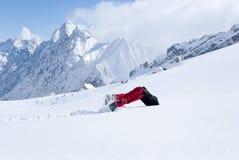 Вниз головой ванты скача в снежок Стоковое Фото