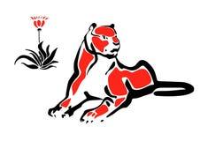 вниз лежа тигр Стоковая Фотография