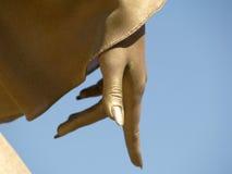 вниз золотистый указывать руки Стоковое Изображение RF