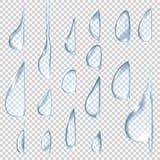 вниз падает пропускать Прозрачные установленные падения воды вектора иллюстрация вектора