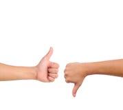 вниз рука подписывает большой пец руки вверх Стоковые Изображения RF