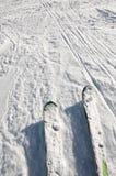 вниз смотрящ лыжи идут снег остановлено Стоковое фото RF