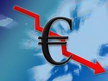 вниз финансы евро Стоковые Изображения RF