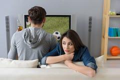 Внимание унылой жены ждать мужское Стоковое Фото