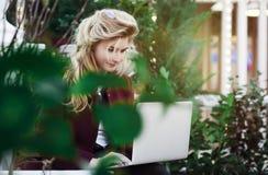 Внимательная молодая женщина в стеклах используя компьютер, сидя на стенде в парке города Концепция времени онлайн и работает вну стоковые фотографии rf