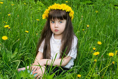 Внимательная маленькая девочка в венке от одуванчиков Стоковое Изображение RF