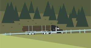 Внося в журнал тележка над предпосылкой леса также вектор иллюстрации притяжки corel Стоковое Изображение RF