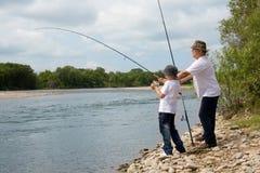 внук деда рыболовства Стоковая Фотография RF