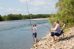 внук деда рыболовства Стоковые Фото