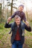 Внук нося деда на плечах во время прогулки Стоковое Изображение