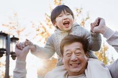 Внук нося деда смеясь над на его плечах Стоковые Фото