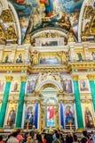 Внутреннее художественное оформление собора St Исаак, Санкт-Петербурга, России стоковая фотография