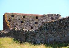 Внутренние руины замка Hammershus на Борнхольме Стоковое фото RF