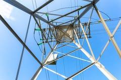 Внутренний взгляд структуры под башней передачи энергии Стоковая Фотография