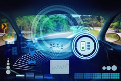 Внутренний взгляд, экран дисплея и автоматический управлять собственной личности Электрическая умная технология автомобиля иллюстрация штока