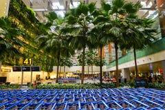 Внутренний взгляд авиапорта Changi в Сингапуре Стоковое Фото