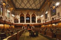 Внутренний взгляд общих Канады парламента, Оттавы стоковое изображение