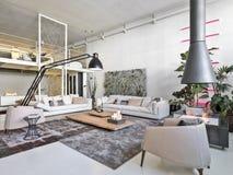 Внутренний взгляд современной живущей комнаты Стоковая Фотография RF