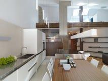 Внутренний взгляд современной кухни Стоковая Фотография RF
