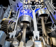 Внутренний взгляд цилиндров, поршеней и клапанов двигателя Стоковая Фотография RF
