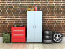 Внутренний гараж кирпича иллюстрация штока