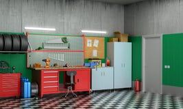 Внутренний гараж с частями и инструментами автомобиля бесплатная иллюстрация