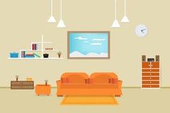 Внутренний дизайн живущей комнаты ослабляет с апельсином софы и окном книжных полок в предпосылке стены иллюстрация Стоковое Изображение