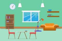 Внутренний дизайн живущей комнаты ослабляет с книжными полками и окном софы в зеленой предпосылке стены иллюстрация Стоковые Изображения RF