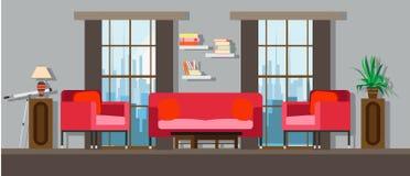 Внутренний дизайн мебели дома живущей комнаты Современный вектор софы квартиры дома Плоское яркое окно, таблица, оформление стены бесплатная иллюстрация
