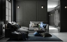 Внутренний живущий модель-макет студии, черный классический стиль, renderin 3D Стоковые Изображения