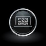 Внутренний значок ошибки сервера внутри круглого серебра и черной эмблемы Стоковые Фотографии RF