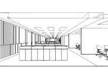 Внутренний офис перспективы чертежа эскиза плана Стоковые Изображения
