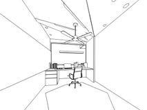 Внутренний офис перспективы чертежа эскиза плана Стоковое Фото