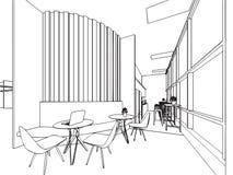 Внутренний офис перспективы чертежа эскиза плана Стоковая Фотография