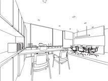 Внутренний офис перспективы чертежа эскиза плана Стоковые Фотографии RF
