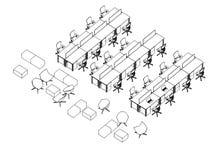 Внутренний офис перспективы чертежа эскиза плана Стоковое фото RF