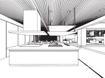 Внутренний офис перспективы чертежа эскиза плана Стоковая Фотография RF