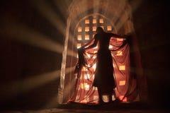 Внутренний послушник пагоды одевает под лучем света Стоковая Фотография
