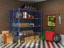 Внутренний пригородный гараж с частями автомобиля иллюстрация вектора
