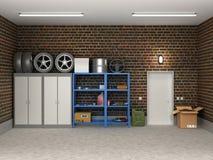 Внутренний пригородный гараж иллюстрация штока